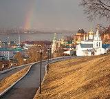 Rainbow over Church of Elijah the Prophet Nizhny Novgorod