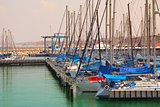 Marina and yachts on Mediterranean sea in Ashqelon, Israel.