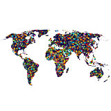Colored network World map