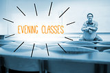 Evening classes against lecturer sitting in lecture hall