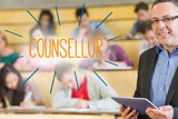Counsellor against lecturer standing in front of his class in lecture hall