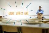 Future starts here against lecturer sitting in lecture hall