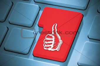 Composite image of thumbs up on enter key