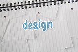 Design against digitally generated notepad with lined paper