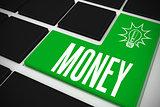 Money on black keyboard with green key