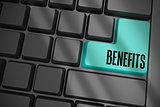 Benefits on black keyboard with blue key