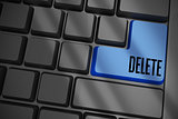 Delete on black keyboard with blue key