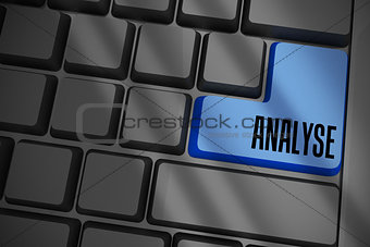 Analyse on black keyboard with blue key