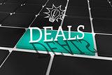 Deals against black keyboard with blue key
