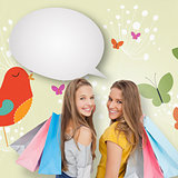 Composite image of two young women with shopping bags with speech bubble