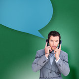 Composite image of angry businessman tangled up in phone wires with speech bubble