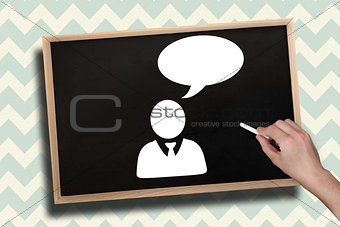 Composite image of hand drawing businessman with chalk
