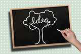 Composite image of hand drawing idea tree with chalk