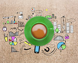 Composite image of green cup of coffee