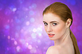 Composite image of beautiful redhead looking at camera