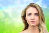 Composite image of serious blonde natural beauty
