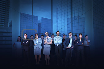 Business team against cityscape background