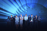 Business team against blue earth background