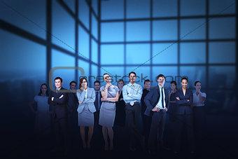 Business team against blue grid background