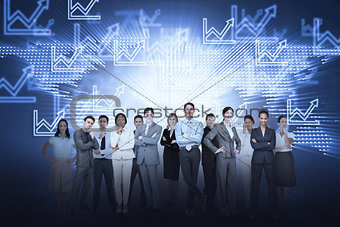 Business team against graph background