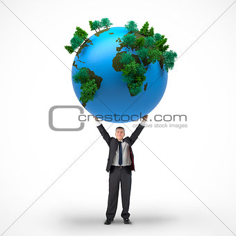Composite image of mature businessman holding globe