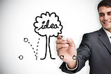 Composite image of businessman drawing idea tree
