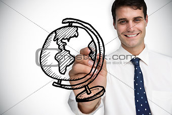 Composite image of businessman drawing globe