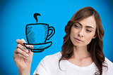 Composite image of businesswoman drawing coffee cup