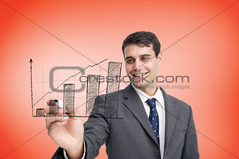 Composite image of businessman drawing graph
