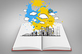 Composite image of cityscape graphic on paint splashes on open book