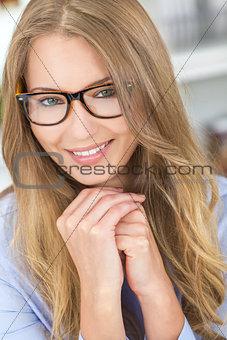 Beautiful Blond Girl Woman Wearing Glasses