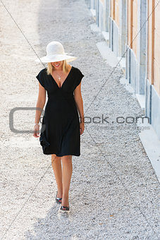 Beautiful Woman in Hat & Black Dress