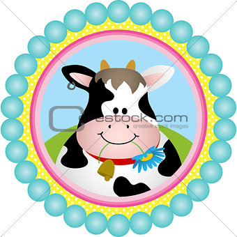 Cute Cow Round Labell