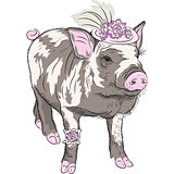 vector fashion funny piggy in beautiful hat wit flowers and gart