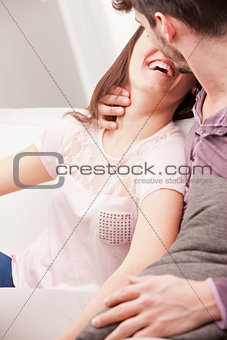 almost kissing between woman and man
