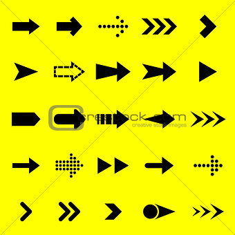 Arrow black icons on yellow background