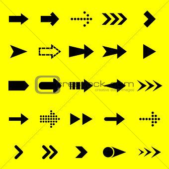 Arrow black icons on yellow background