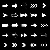Arrow icons on black background