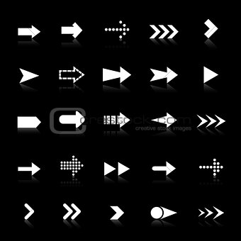 Arrow icons with reflect on black background