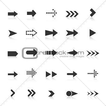 Arrow icons with reflect on white background