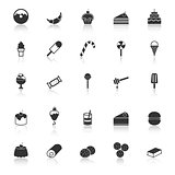 Dessert icons with reflect on white background