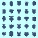 Shield color icons on blue background