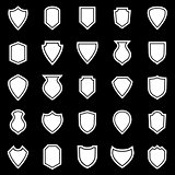 Shield icons on black background
