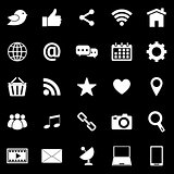 Social media icons on black background