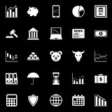 Stock market icons on black background