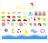 isolated summer beach stuff for kids on a white background