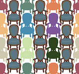 Vector pattern with armchairs art illustration cute
