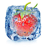Strawberry in ice with drops