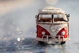 van under the rain