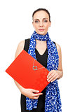 business woman with a red binder